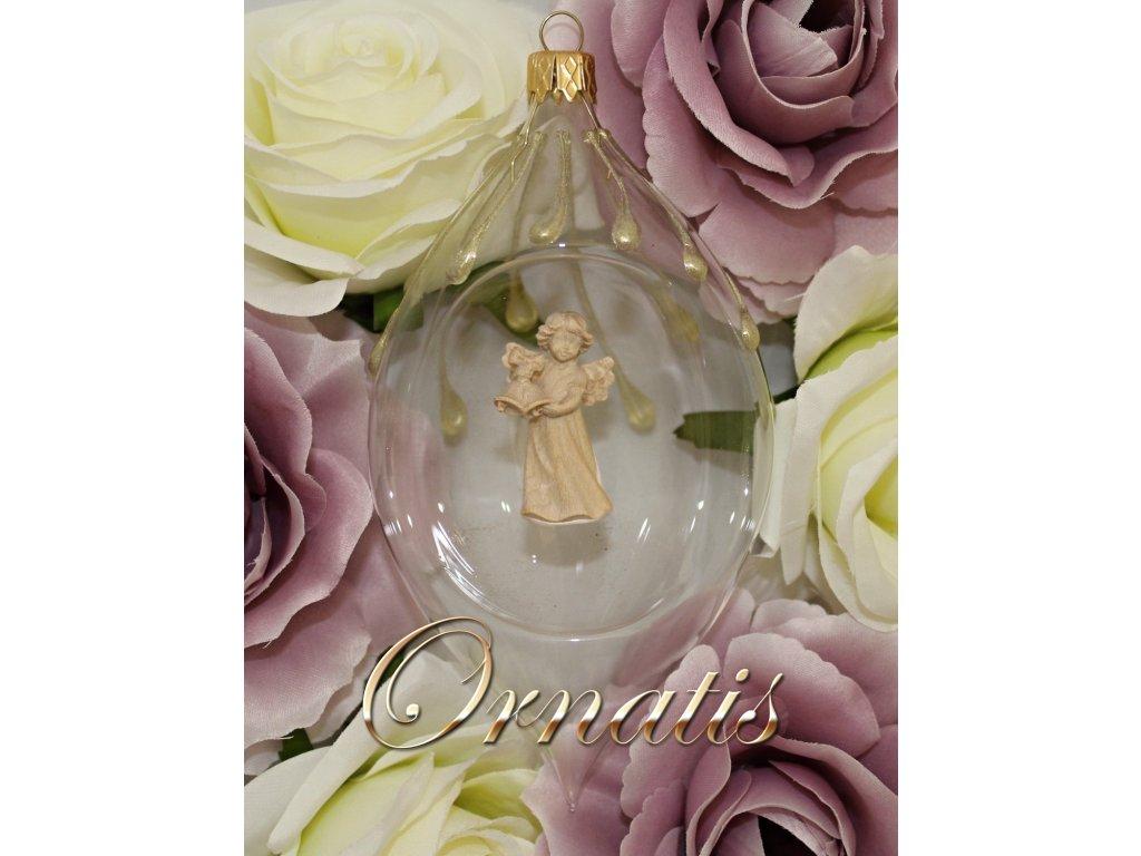 Skleněná foukaná ručně malovaná ozdoba s dřevěnou soškou anděla prodej vánočních ozdob