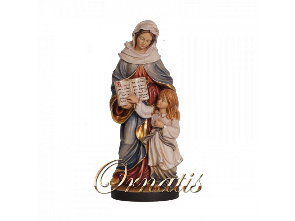 Drevená vyrezávaná ručne maľovaná soška Sv. Anna