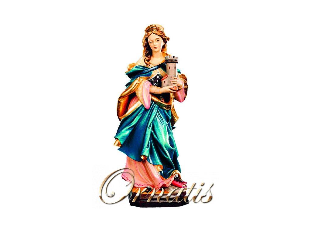 Drevená vyrezávaná ručne maľovaná soška Svätá Barbora