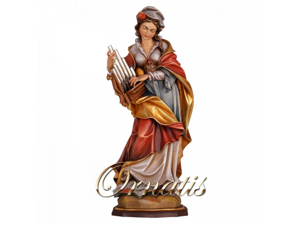 Drevená vyrezávaná socha Svätej Cecílie