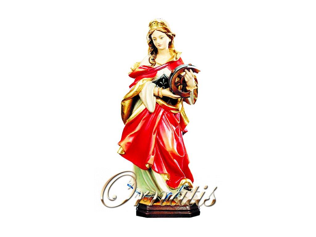 Drevená ručne vyrezávaná socha Svätej Kataríny