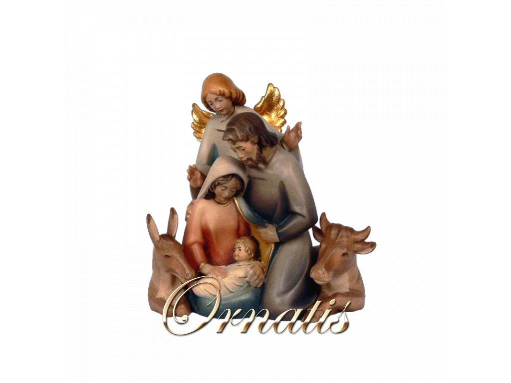 svatá rodina anděl ježíšek vůl osel panna marie josef betlem soska drevo figurka svata trojice malovana