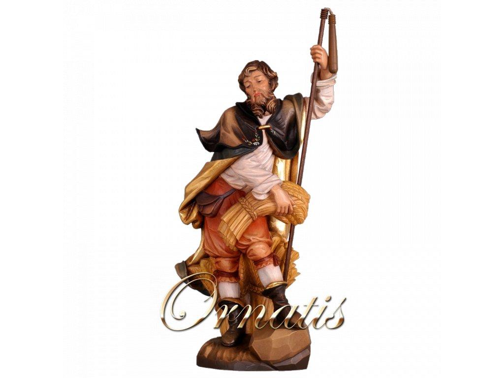 Drevená vyrezávaná ručne maľovaná soška Svätý Isidor