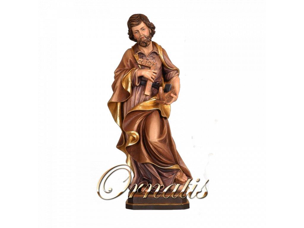 Drevená vyrezávaná ručne maľovaná soška Svätý Jozef
