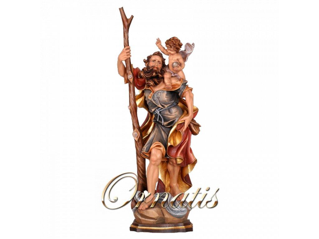 Drevená vyrezávaná ručne maľovaná soška Svätý Krištof