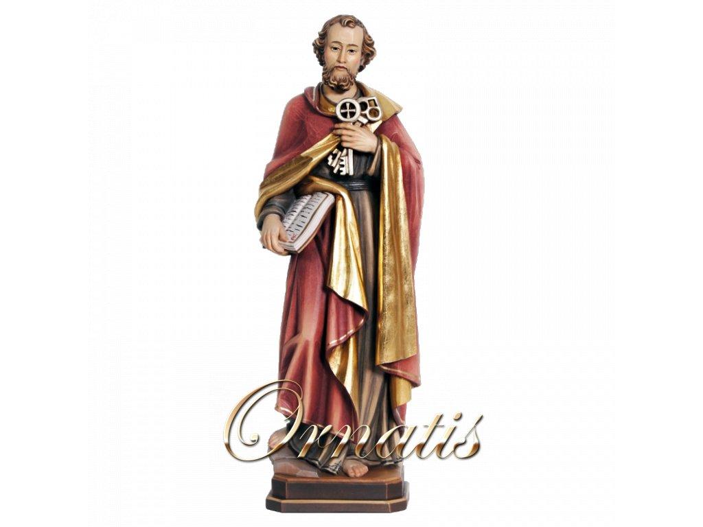dDrevená vyrezávaná ručne maľovaná soška Svatý Petr