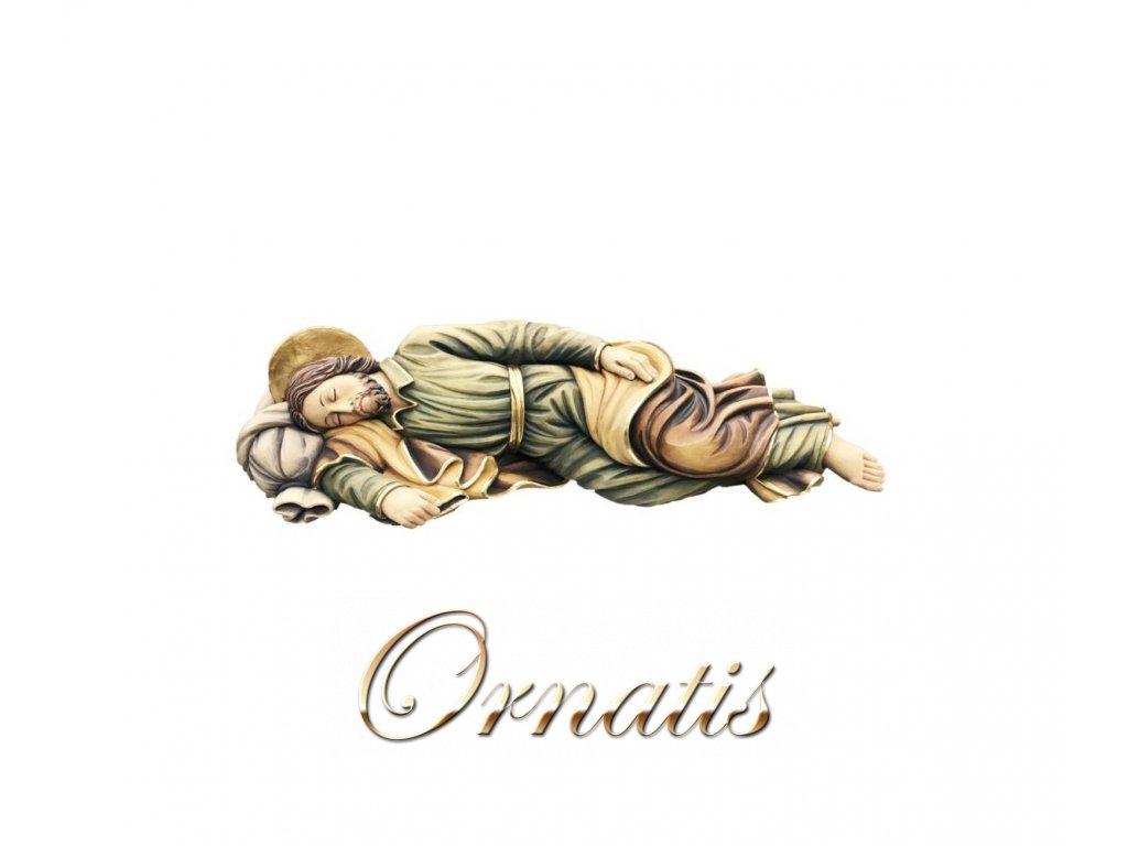 Drevená vyrezávaná ručne maľovaná soška Svätého Jozefa spiaceho