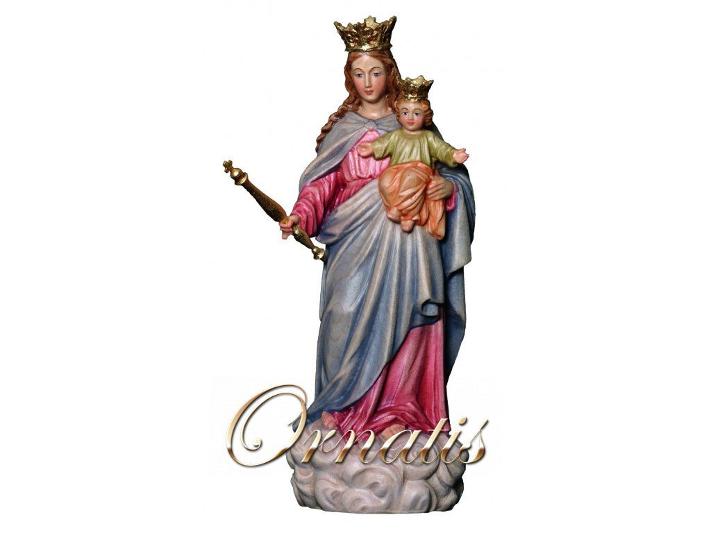 Drevená vyrezávaná Panna Márie Pomocnice kresťanov