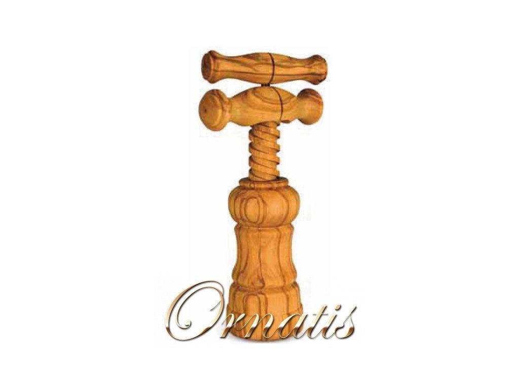 Dřevěná vývrtka na víno z olivového dřeva