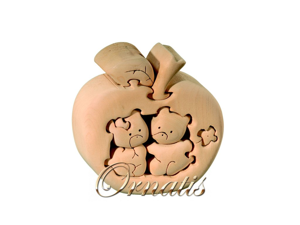 dřevěné 3D puzzle-medvídci v jablku
