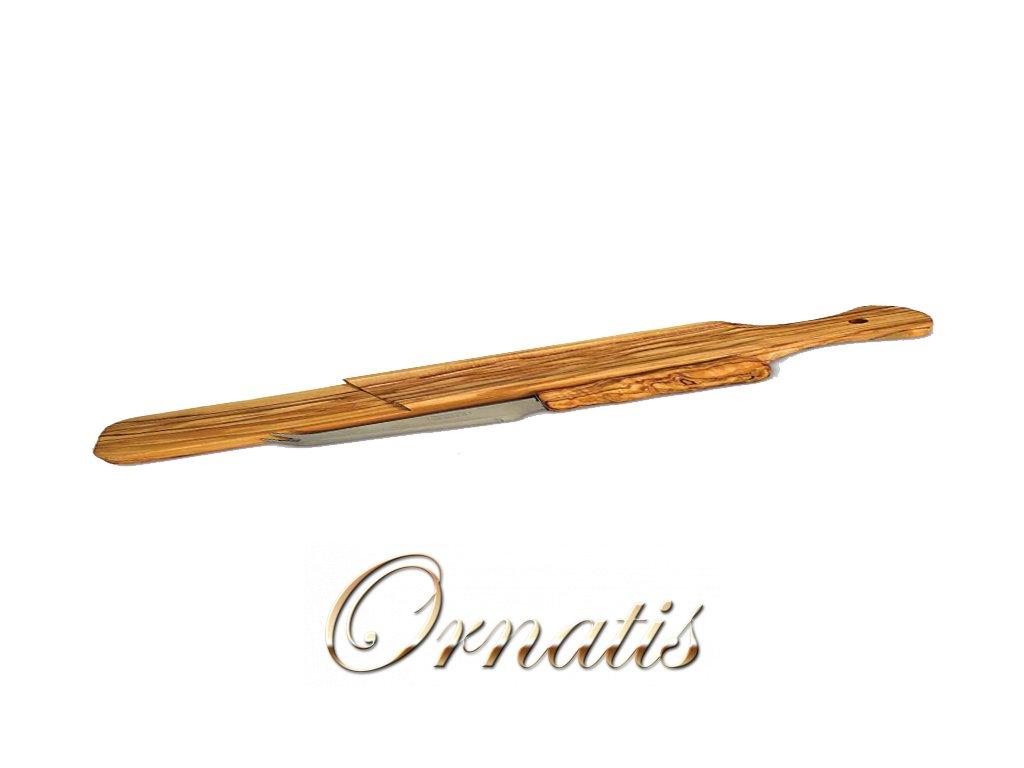 Dřevěné prkénko s nožem na salámy z olivového dřeva