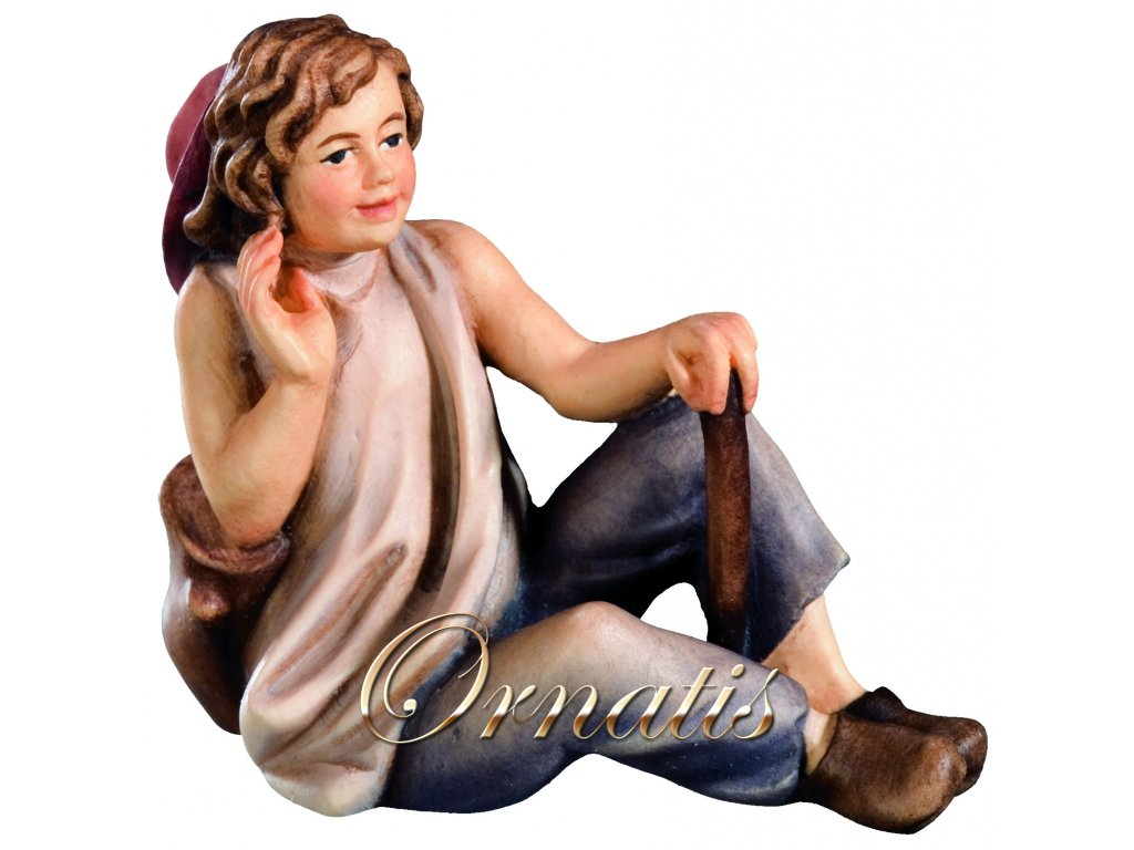 Dřevěný sedící chlapec-prodej betlémů