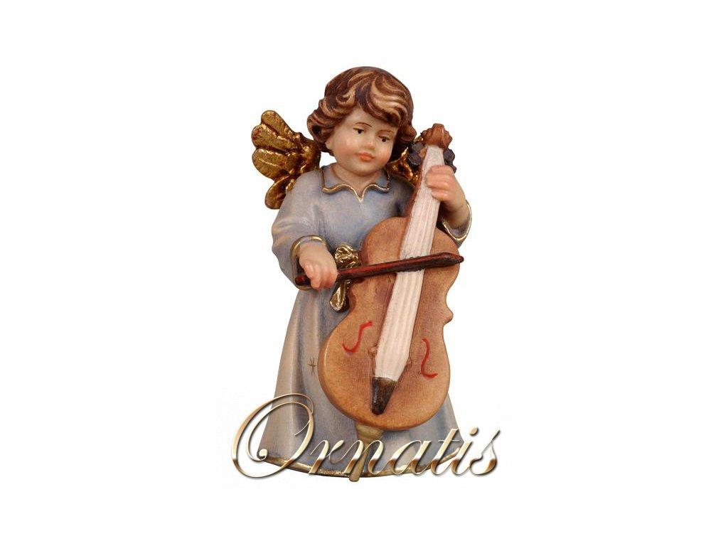 Drevený vyrezávaný anjel s basou