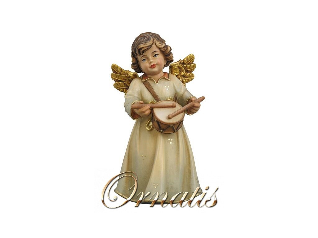 Drevený vyrezávaný anjel s bubienkom