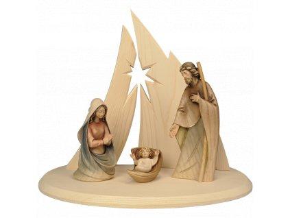 Drevená ručne vyrezávaná Svätá rodinaškem betlem soska dreevo svatatrojice figurka 0