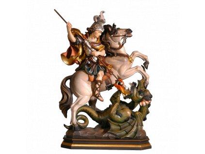 Drevená vyrezávaná ručne maľovaná soška Svätý Juraj