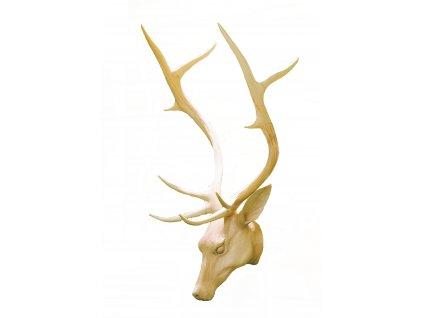 Dřevěná vyřezávaná trofej hlavy jelena