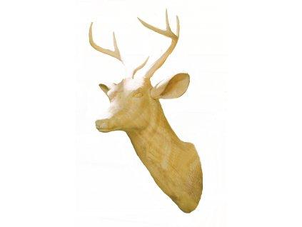 Dřevěná vyřezávaná trofej hlavy losa