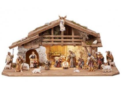 dřevěný vyřezávaný ručně malovaný betlém