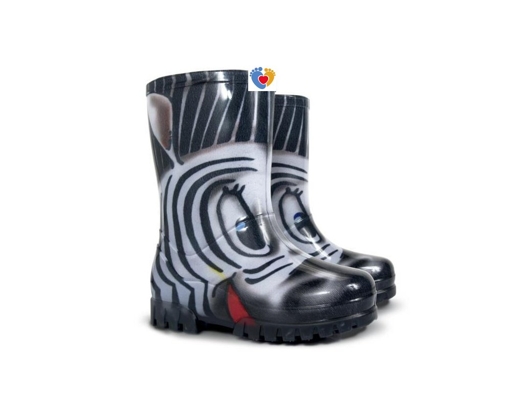 Detské gumáky DEMAR-TWISTER PRINT S zebra 0036