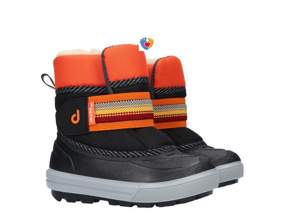 Detské zimné snehule DEMAR - CRAZY 1508 B black-orange