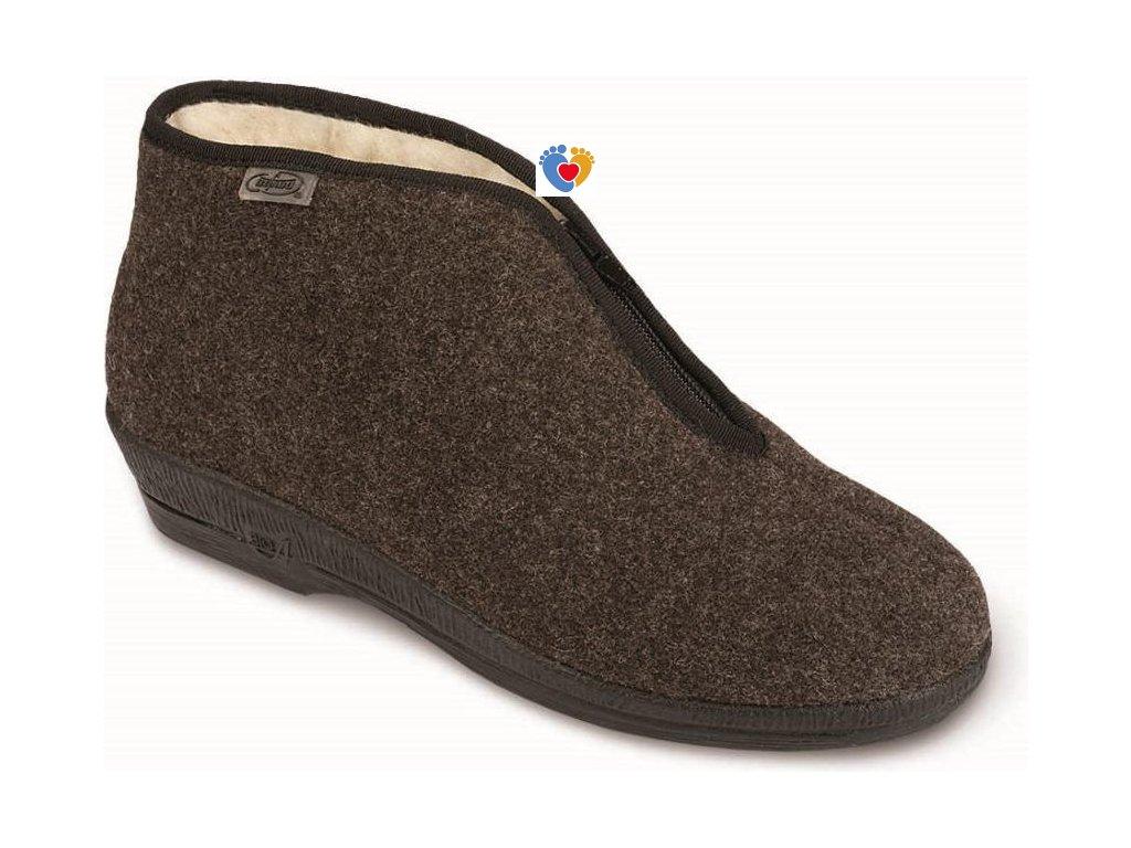 Dámske zateplené papuče 041D048 hnedá