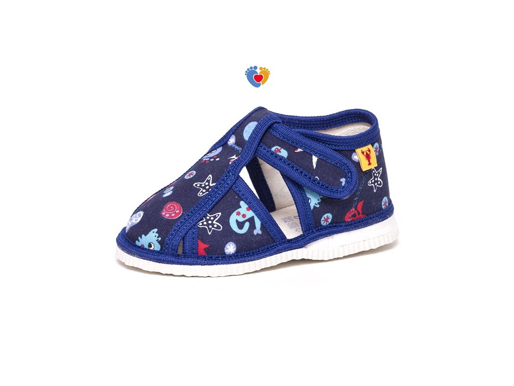 detska obuv papuce modre motiv morsky svet 194