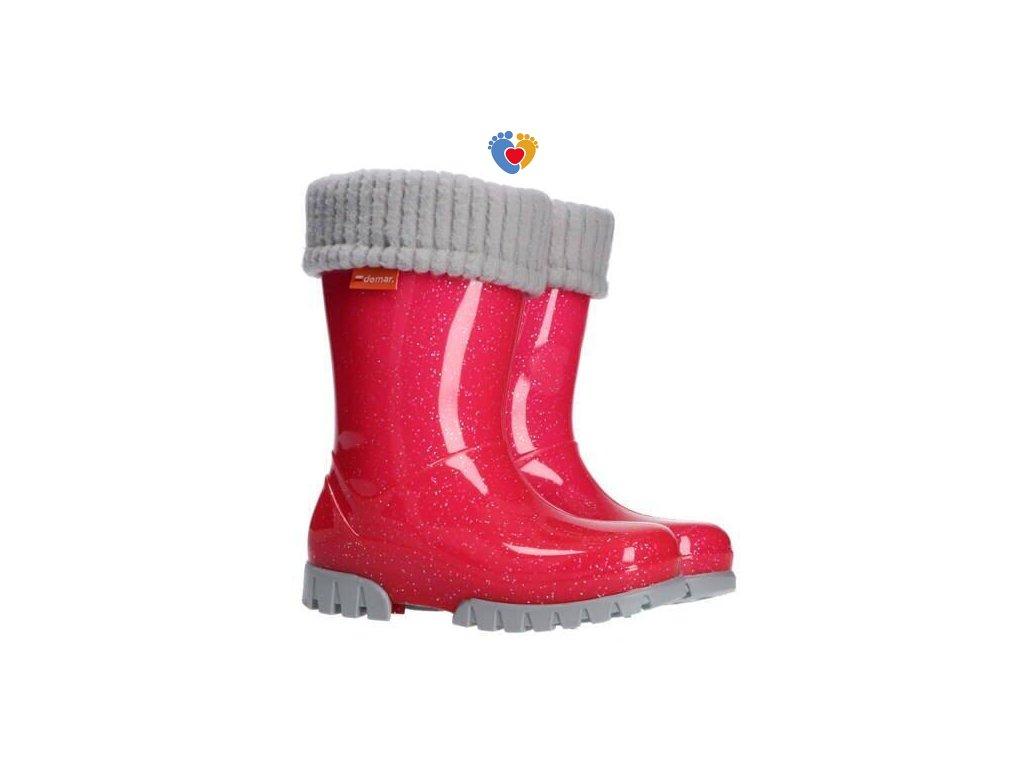 Detské gumáky DEMAR HAWAI LUX 0406/0407 G ružový-brokát