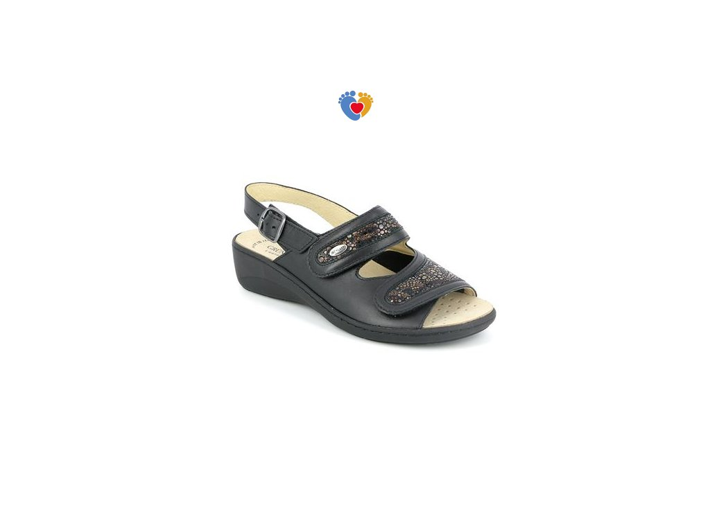 sandal donna leather and fabric nero 40 gradi (1)
