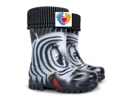 Detské gumáky DEMAR TWISTER LUX PRINT S - zebra 0038