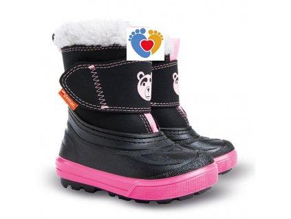 Detské zimné snehule BEAR B pink 1507