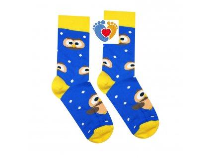 modro zlte ponozky so sovou