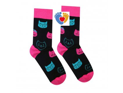 farebne bavlnene ponozky hesty socks macka