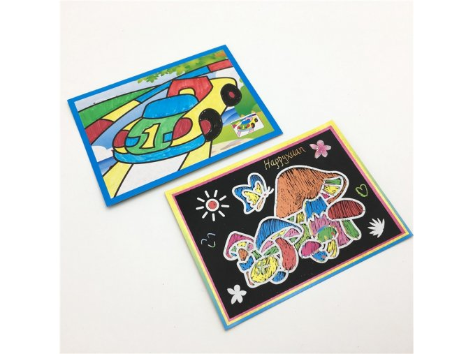 4 Happyxuan 20pcs 2 in 1 Magic Color Scratch Art Paper Cards Painting Coloring for Children Creative