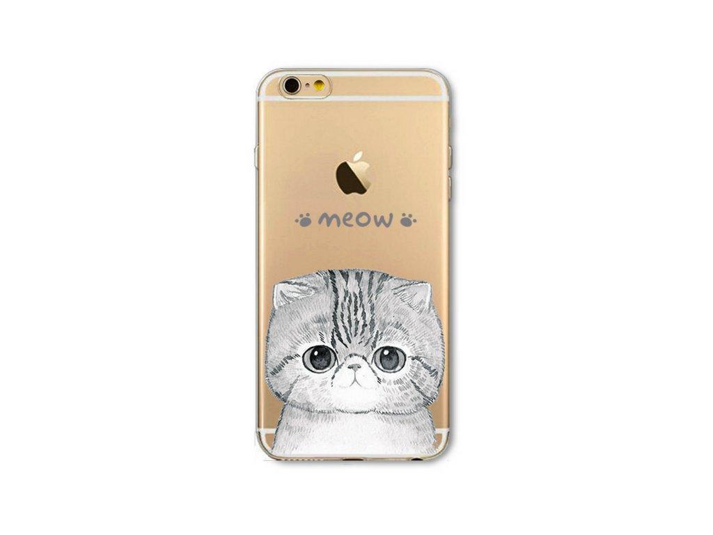 1081 tenky silikonovy kryt cute cat iphone 4 4s meow