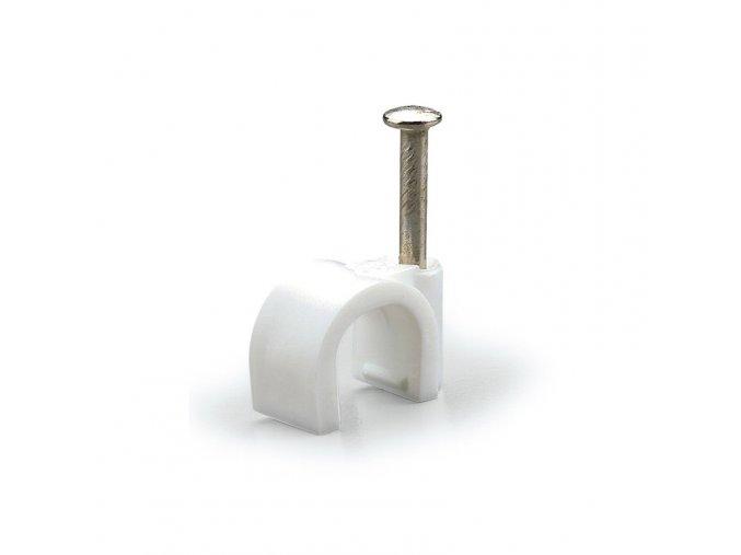 13873 prichytka pro kulaty kabel bila prumer 6 mm