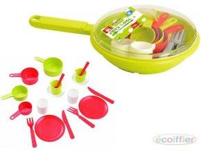 105993 ecoiffier detska sada nadobi set kuchynsky panev s doplnky plast
