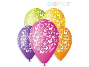 109338 gemar balonek nafukovaci 30cm pastelovy potisk motylci ruzne barvy 1ks