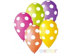 109341 gemar balonek nafukovaci 30cm pastelovy potisk puntik bily ruzne barvy 1ks