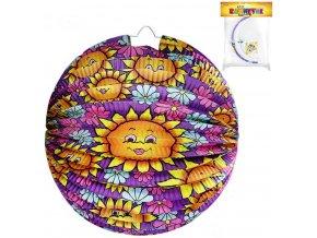KARNEVAL Lampion Slunečnice kulatý papírový 25cm na svíčku