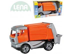 LENA Truckies popeláři 25cm set baby autíčko + panáček 01623 plast