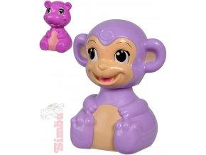 SIMBA Baby veselé zvířátko opička/hrošík zmáčkni a jeď 2 druhy pro miminko
