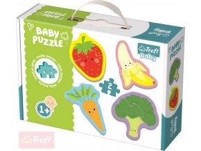 TREFL Baby puzzle Zelenina a ovoce velké dílky 4v1 set 8 dílků pro miminko
