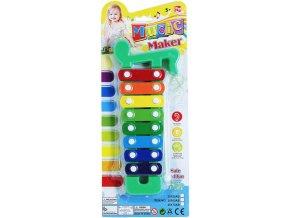 Xylofon barevný 8 kláves set s paličkou na blistru *HUDEBNÍ NÁSTROJE*