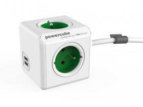 58269 zasuvka powercube extended usb s kabelem 1 5m green