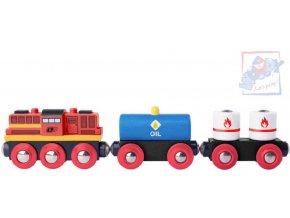 123240 woody drevo vlakovy set lokomotiva diesel vagon 2ks drevene hracky