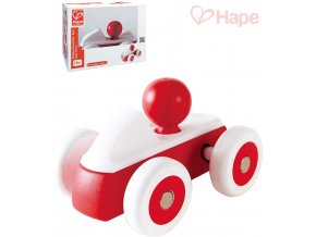 147857 hape drevo baby roadster mini cervene auticko s ridicem pro miminko