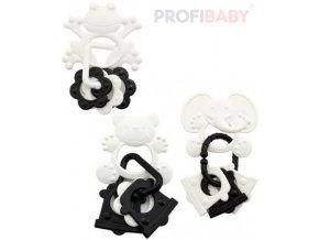 PROFIBABY Baby Kousátko zvířátko se 3 přívěsky černobílé pro miminko