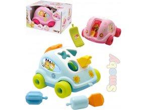 SMOBY Cotoons Baby auto vkládačka autíčko vkládací telefon tahací 2 barvy plast