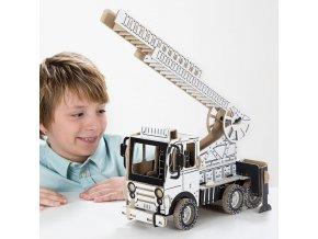 TO DO kartonová 3D skládačka Hasičské auto s žebříkem
